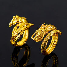 Vietnam Alluvial Gold Dragon Phoenix Couples Wedding Rings Adjustable Jewelry Wholesale Open Women Men's Ring(China)