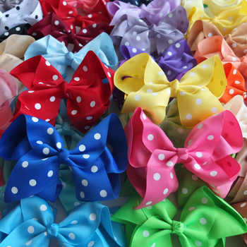 24 pcs/lot 6 inch Polka Dots Hair Bow Boutique Large Hair bow Hair Clips Hairpins Girls Hair accessories Holiday bow Headwear