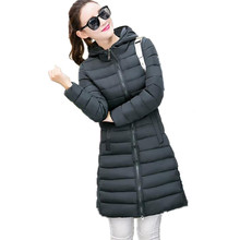 2016 New Winter Slim Down Cotton Jacket Women Hooded with Fur Ball Coat Plus Size Solid Long Coats Fashion Warm Parka ZA295