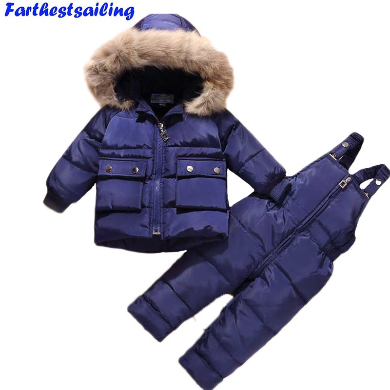 Russia Winter Suit for Children Kids Duck Down Clothing Set Baby Boys Girls Thickening Suit White Duck Down Jacket + Pants 2PS