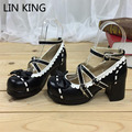 LIN KING Brand Square Heel Women Ankle Pumps Sweet Mary Janes Lolita Shoes Fashion Buckle Platform Cosplay Shoes Wedding Shoes