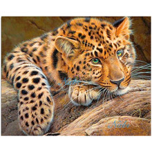 Diamante bordado pintura 3d broca cheia diamante mosaico ponto cruz colado pintura diy casa decora artesanato animal leopardo(China)