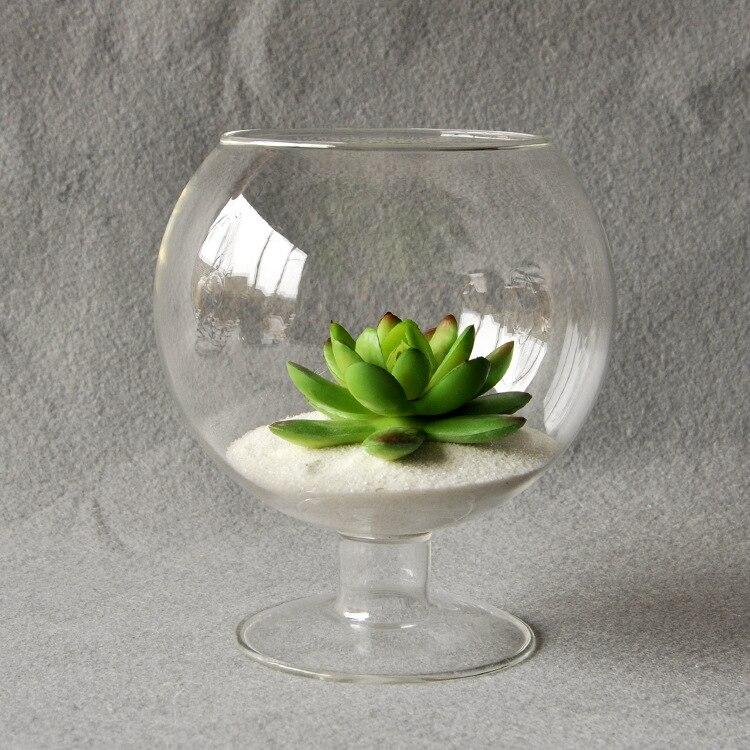 Clear Glass Vase Glass Terrarium Cup Shaped Bottle Flower Garden Indoor Office Bar Decoration