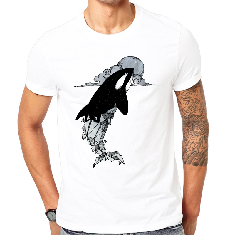 Fashion summer printed Casual o neck Men T shirt killer whale geometric 2018 new Man shirt