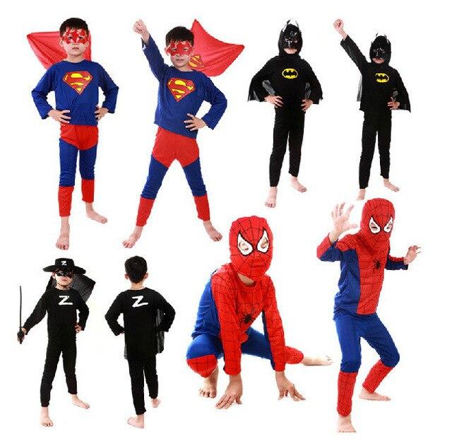 Spiderman Batman Superman Spiderman Traje Preto vermelho Trajes de Halloween Para Crianças Capas de Super-heróis Anime Cosplay Carnaval Cosplay