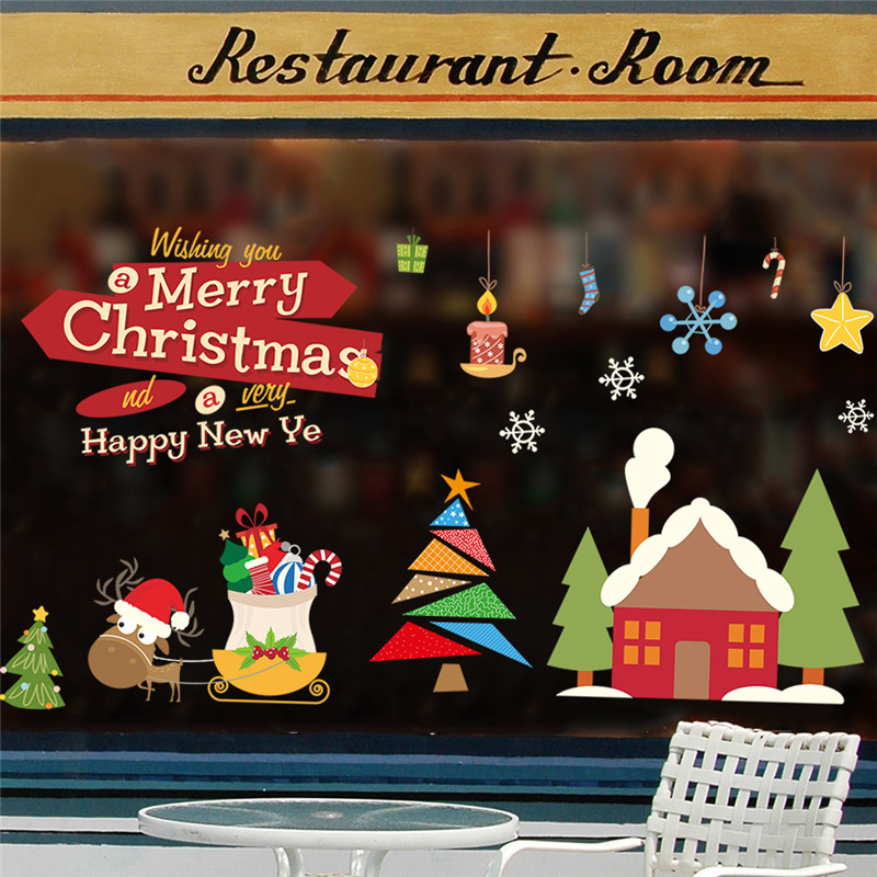 Cute Reindeer Gift Merry Christmas Tree Festival Wall Stickers Home Store Shop Decoration Pvc Xmas Window Glass Mural Art Decals