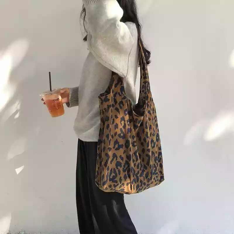 Luipaard Draagtas Corduroy Schouder vrouwen Tas Grote Boodschappentas Dames Handtassen Casual Doek Strand Shopper Bag Bolsa Feminina