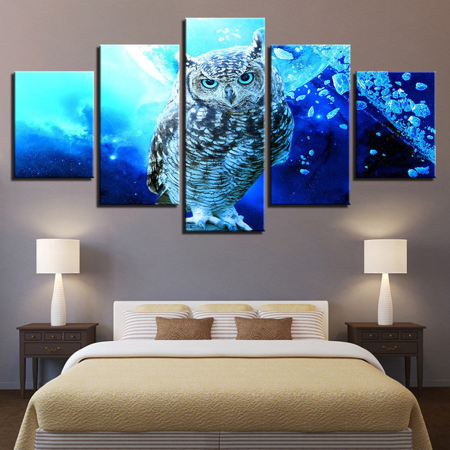 5 pcs diamant peinture maison décorative Stickers muraux 5 pièces bleu hibou photos HD décor à la maison diamant broderie animal DP154
