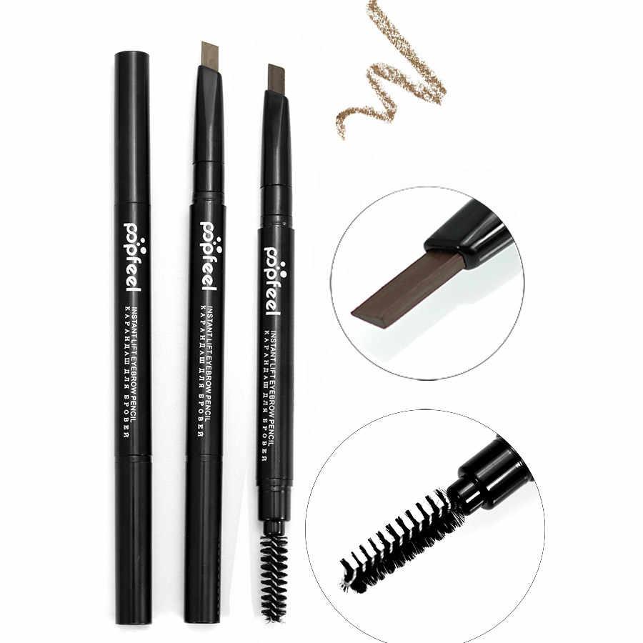 1 PCS 2 in 1 Tahan Air Pensil Alis Enhancer Sikat Auto Tahan Lama Eye Brow Pen Make Up Alat Tetap Alis Cat pensil