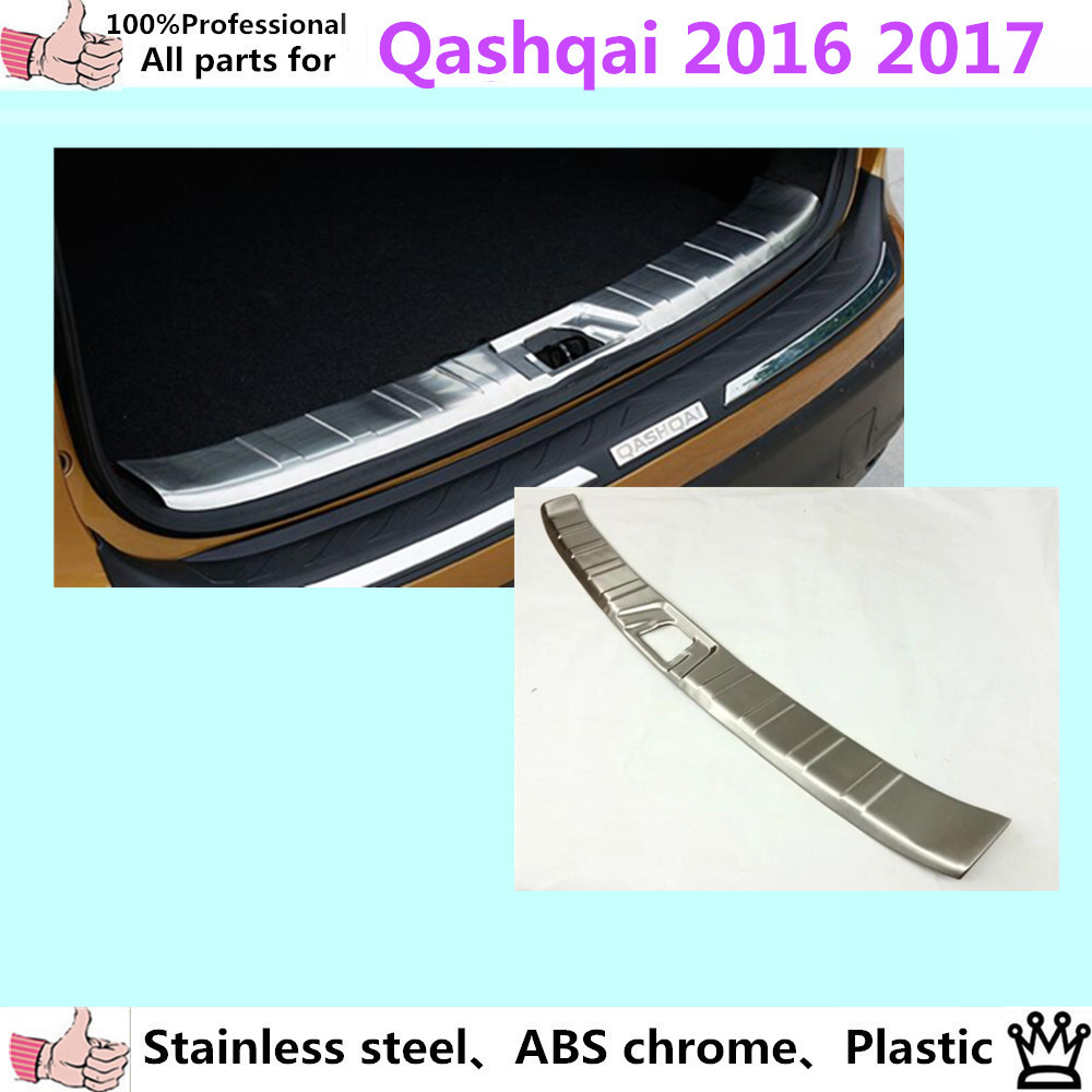 Car body styling cover Stainless Steel Inner built Rear Bumper trim plate lamp pedal moulding 1pcs For Nissan Qashqai 2016 2017 car styling cover detector stainless steel inner built rear bumper protector trim plate pedal 1pcs for su6aru outback 2015