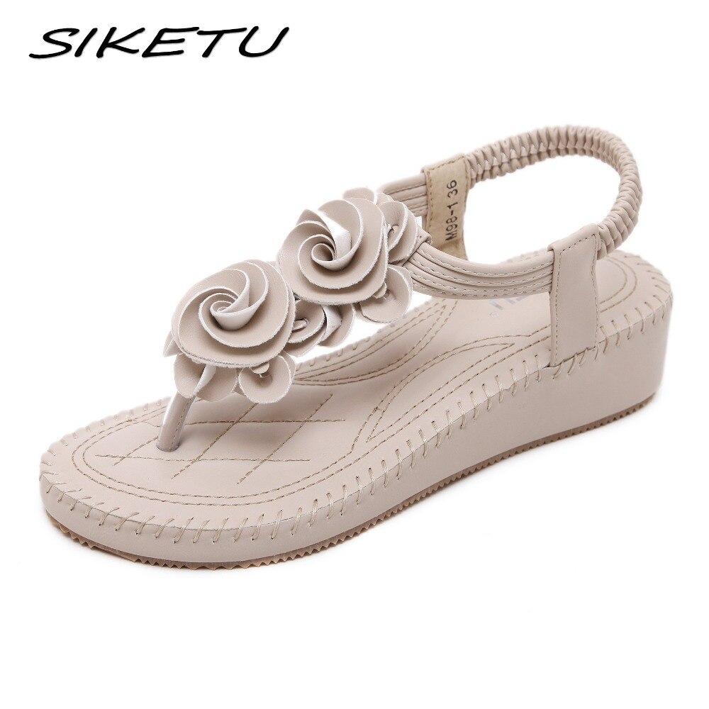 SIKETU New 2018 Summer Bohemia Wedge sandals shoes woman fashion flower  flip flop beach soft ethnic 52130620965d
