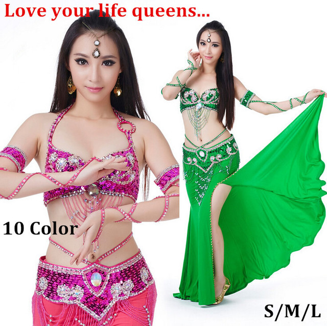 1587fd1e1 Belly Dance Costume S M L 3pcs Bra Belt Skirt Sexy Dancing women ...