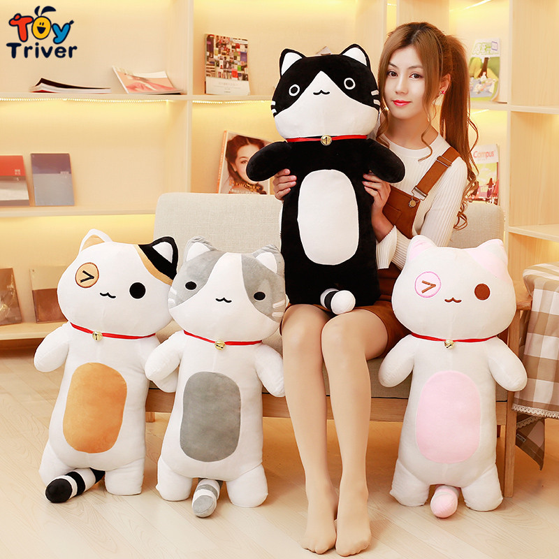 80cm Quality Plush Cat Toy Pillow Cushion Stuffed Cats Doll Kids Children Baby Boy Friend Birthday Gift Home Shop Decor Triver 30cm plush fortune bell cat lucky cats maneki neko kitty toy stuffed doll bamboo charcoal bag activated carbon automotive decor