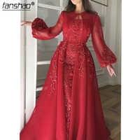 Formal rojo vestidos noche musulmanes desmontable de abertura larga manga larga cuentas Dubai saudí árabe largo vestido de noche vestido de fiesta
