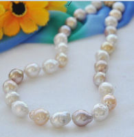 Free shipping@@@@@ A>30inch shouth sea 12 14mm south sea white baroque pearl necklace14k a