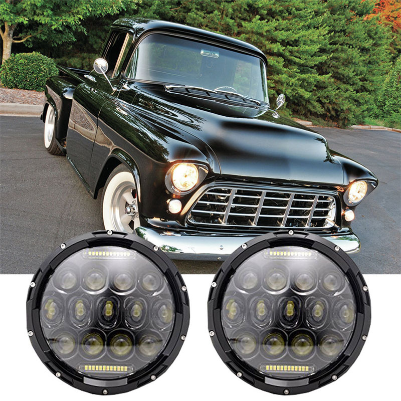 7 Inch round 75W Cars running lights 12V 24V LED Driving headlight Hi/Lo Beam DRL headlamp for Jeep Wrangler JK CJ TJ Lada Niva 7 inch round chrome led headlight drl 80w hi low beam for for jeep wrangler jk cj tj lj drl super bright motorcycle