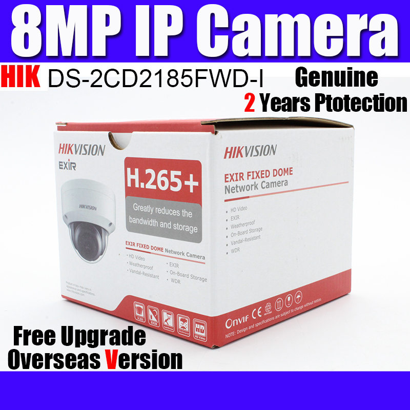 Overseas DS 2CD2185FWD I 8MP IP67 h 265 Network dome ip camera wdr security Camera SD