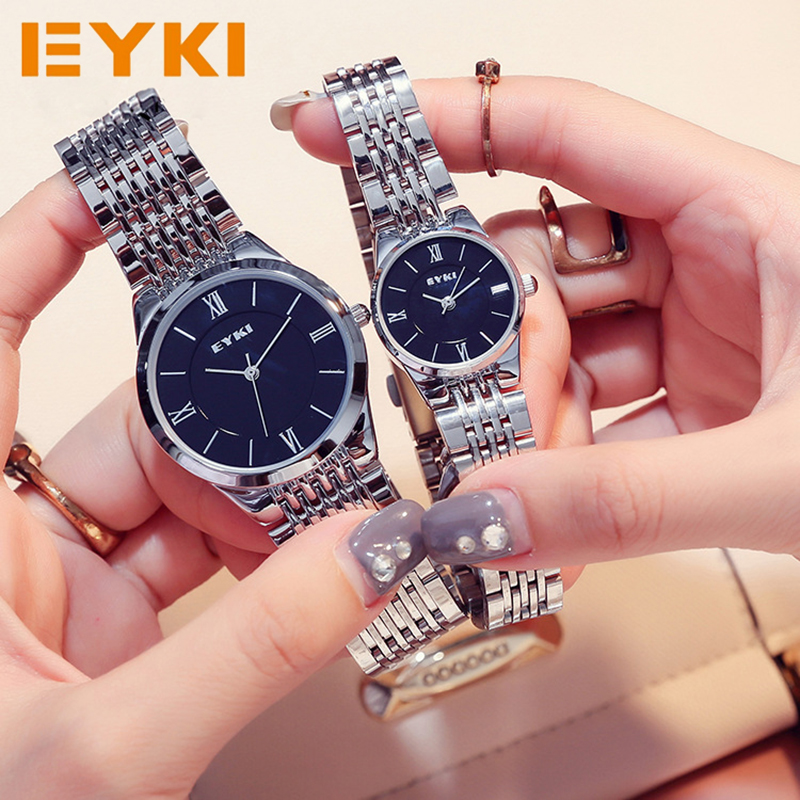 EYKI Brand Women Stainless Steel Watches 2017 Simple Men Business Female Dress Quartz Wrist Watch Relogio Masculino With Box