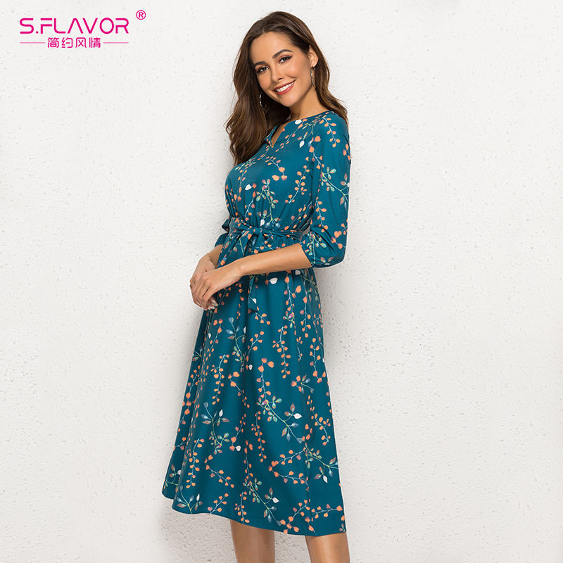 Image 4 - S.FLAVOR Autumn Winter Casual Dress Women V Neck 3/4 Sleeve A Line Mid Calf Print Dress Female Elegant Waist Party Vestidos-in Dresses from Women's Clothing