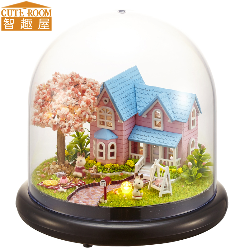 Assemble DIY Doll House Toy Wooden Miniatura Doll Houses Miniature Dollhouse Toys With Furniture LED Lights Birthday Gift B016