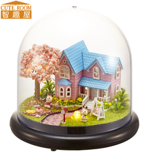 Assemble DIY Doll House Toy Wooden Miniatura Houses Miniature Dollhouse toys With Furniture LED Lights Birthday Gift B016