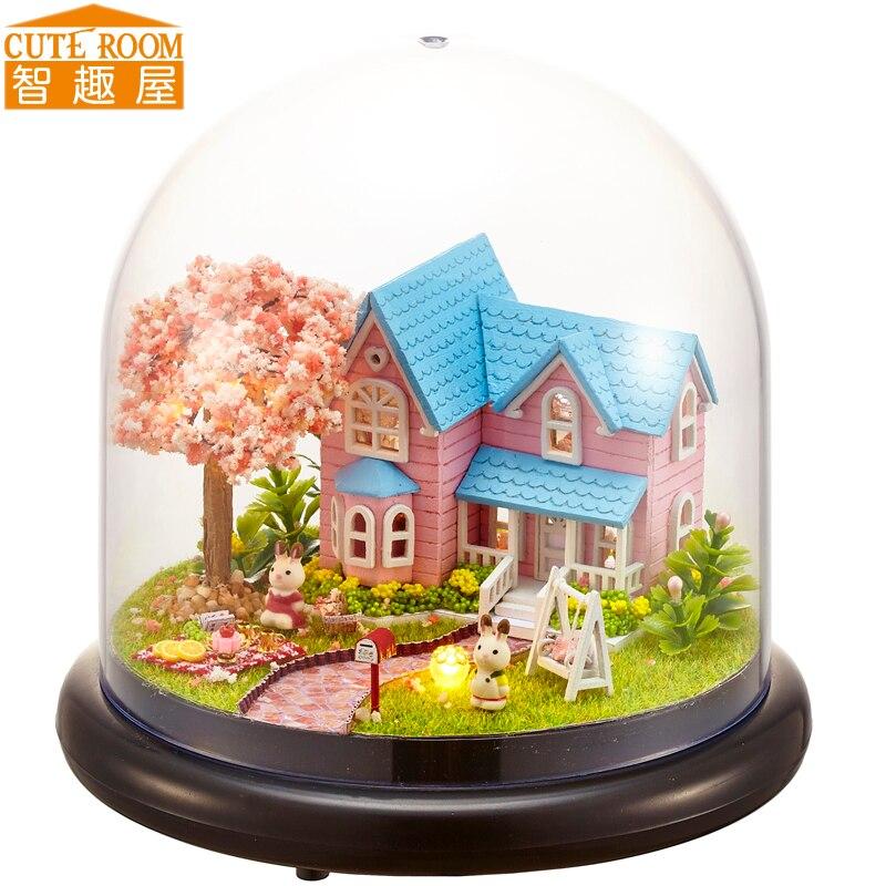 Montar diy casa de boneca brinquedo de madeira miniatura casas de bonecas em miniatura brinquedos com móveis led luzes presente aniversário b016