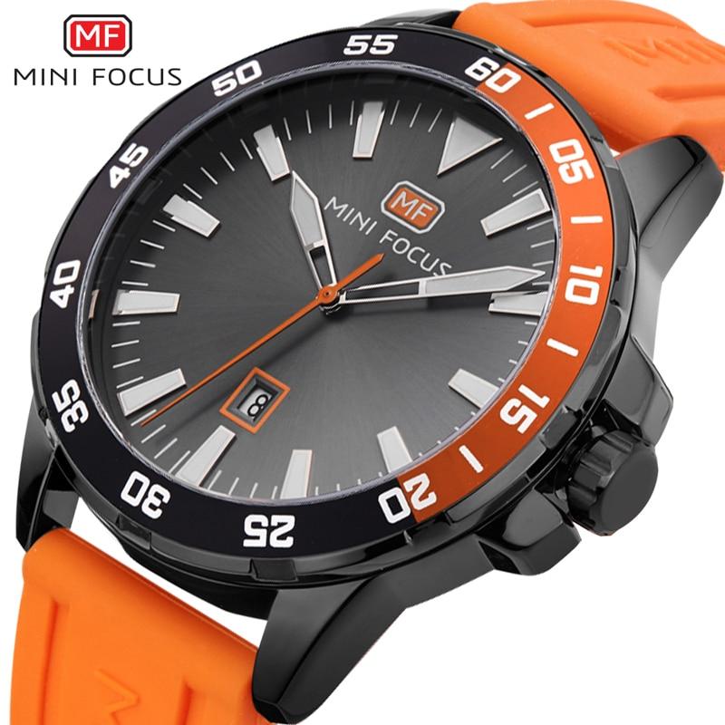 MINI FOCUS Mens Sports Wrist Watches 2018 Waterproof Silicone Watchband Quartz Horloges Mannen Calendar Watch With Gift Box