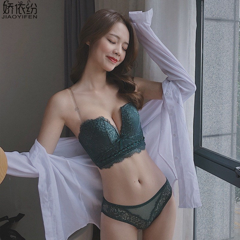 Sexy Lace Women Underwear Set Push Up Bra Sets Embroidery Printing Brassiere Strapless Deep V Small Chest Lingerie and Pant Sets