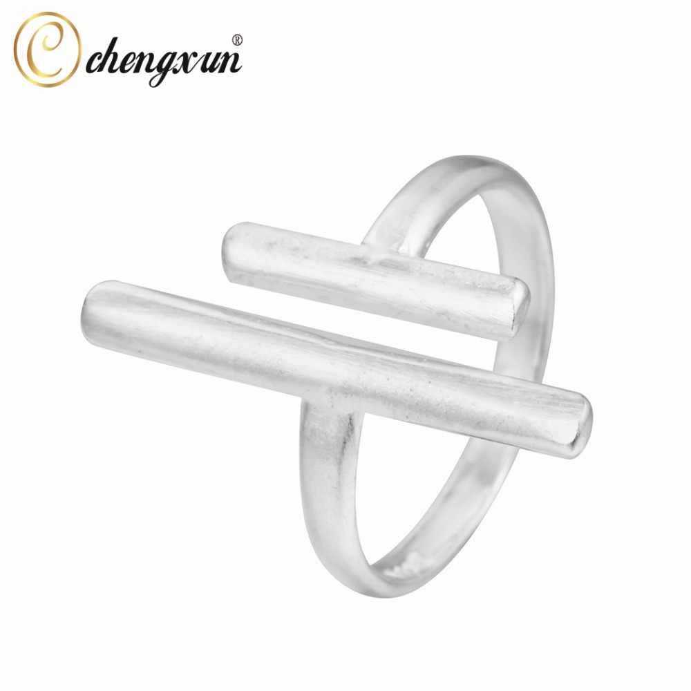 Chengxun hiphop gótico legal feminino masculino anéis unisex estilo duplo retângulo geométrico anéis abertos ajustável para amigos presente