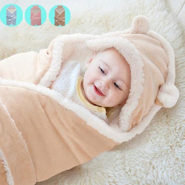 Cobertores do bebê 2017 novo engrossar Cashmere Super macio infantil bebe envelope swaddle envoltório bebê recém-nascido cobertor da cama