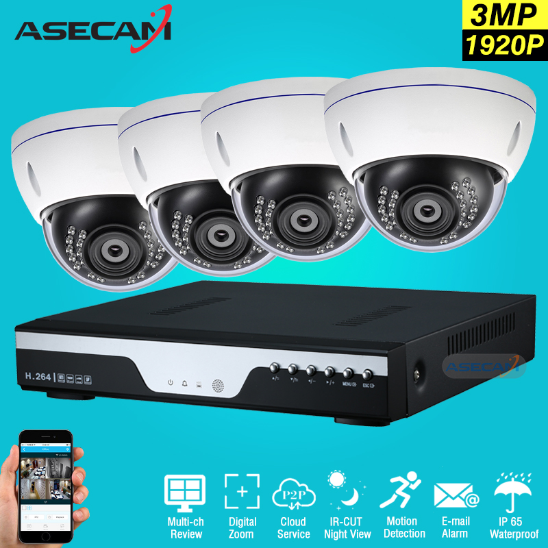 New Super 3MP HD 4 Channel 1920P Surveillance Home CCTV Camera indoor White Metal Dome Security Camera System kit Xmeye APP