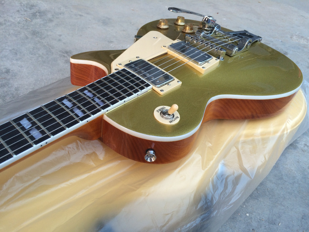 FREE SHIPPING+ ELECTRIC GUITAR+gold top+bigsby tremolo+GUITAR IN CHINA