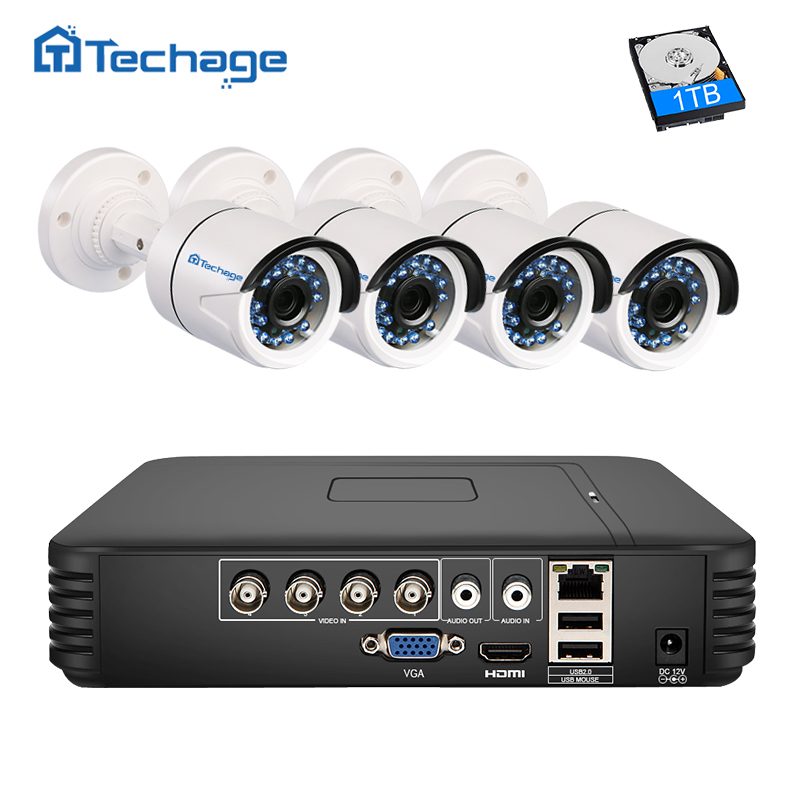 Techage 4CH AHD 5 IN 1 Security DVR NVR CCTV System HDMI 720P 1 0MP 1200TVL