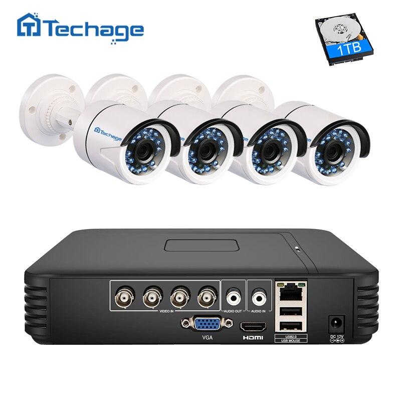 bilder für Techage 4CH AHD 5 IN 1 Sicherheit DVR NVR System HDMI 720 P 1.0MP 1200TVL Wetterfeste Outdoor-cctv-kamera AHD-M Überwachung Kit