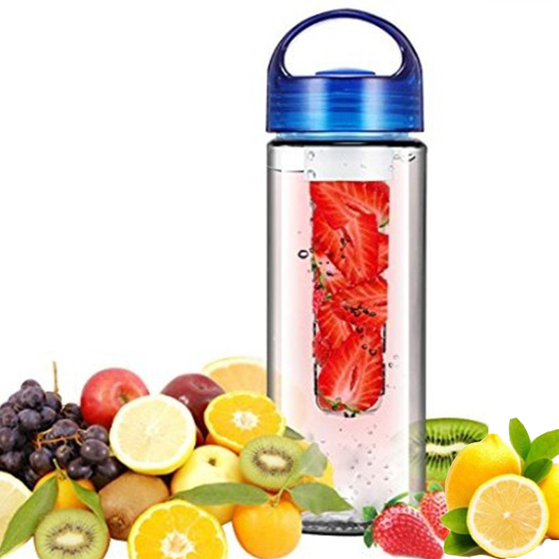 Eco-friendly Fruit Infusing watter bottle Lemon Juice Maker 700ml cap Fruit Infuser bike travel school BPA Sports Health