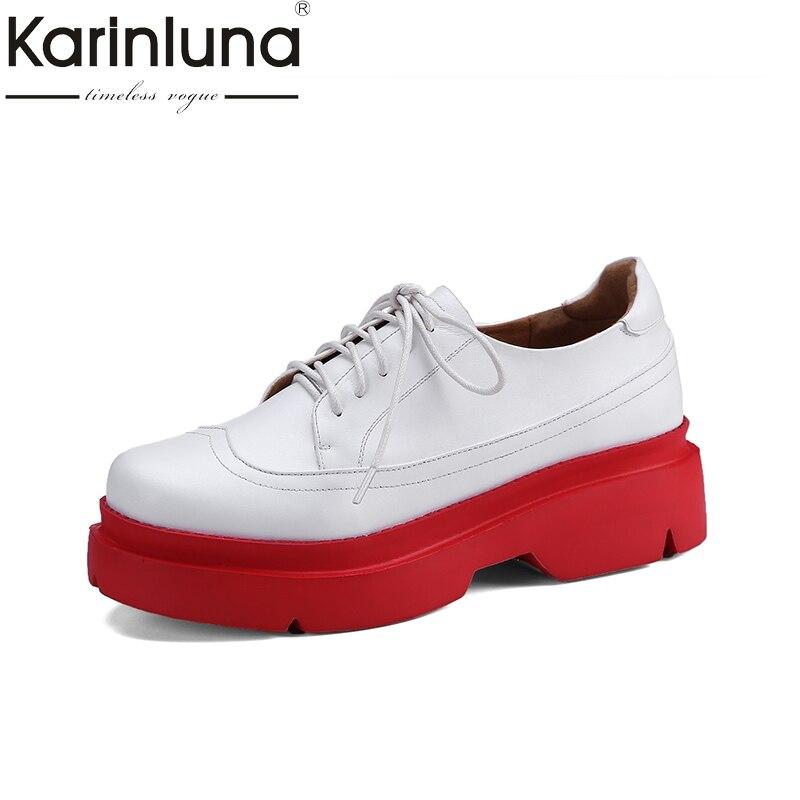 2018 Chaussures Bas Véritable En forme Karinluna Cuir Appartements De Rouge  Dentelle blanc Blanc Femme Up Loisirs Confortable Marque ... f5e3ca97ea19