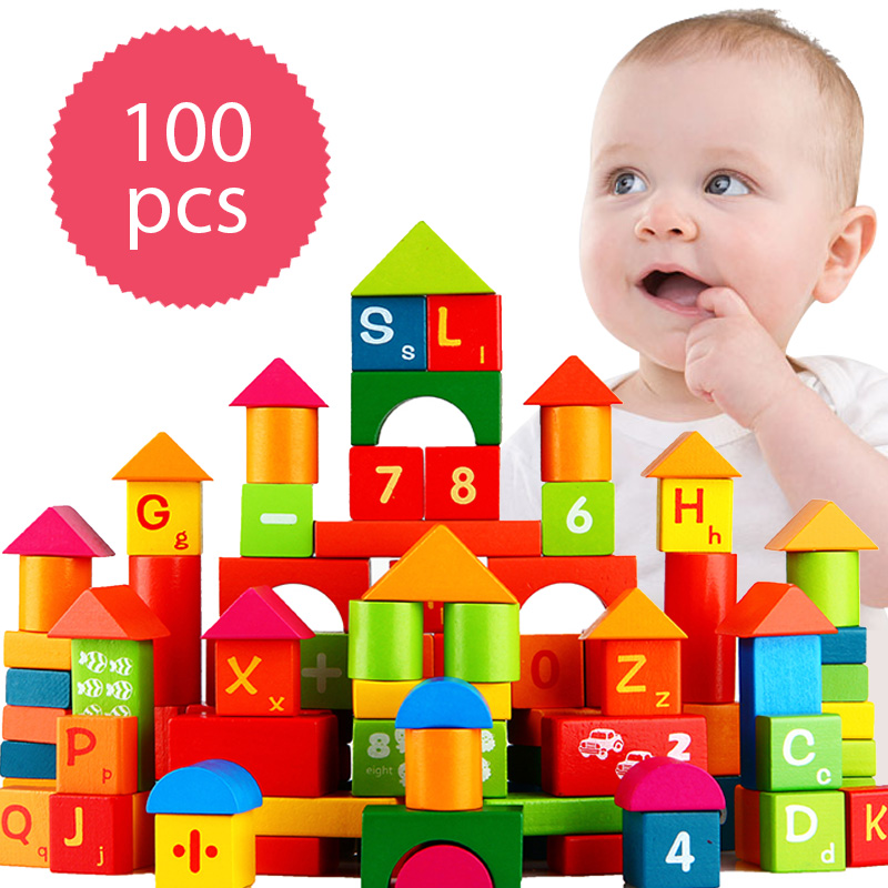 100pcs Wooden Building Blocks Toy Domino Tower Letters Numbers Wood Custruction Block Brick Kids Early Educational Wood Toys Set 100pcs wooden building blocks brick kids educational learning toys set