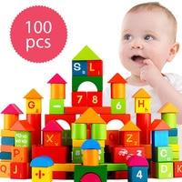 Toybus 100 pz Blocchi di Legno Giocattolo Domino Torre Lettere Numeri In Legno Custruction Blocco di Mattoni Per Bambini Primi Giocattoli Educativi