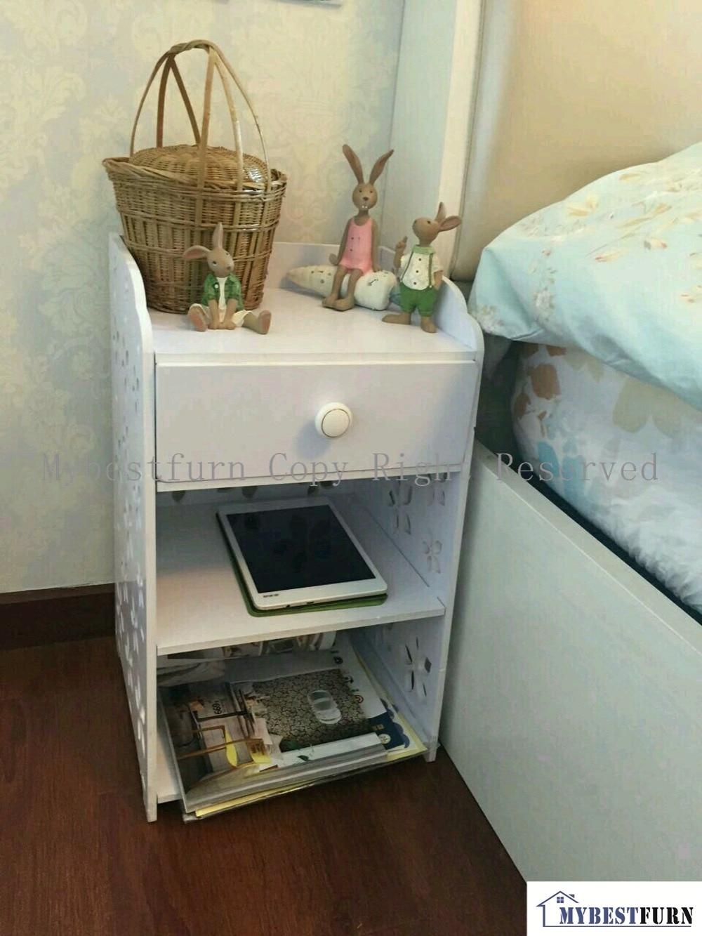 Mybestfurn table de chevet en bois blanc de petite taille, armoire de chevet à tiroirs à fleurs sculptées pour enfant ou adulte 253C (rangement aux etats-unis)