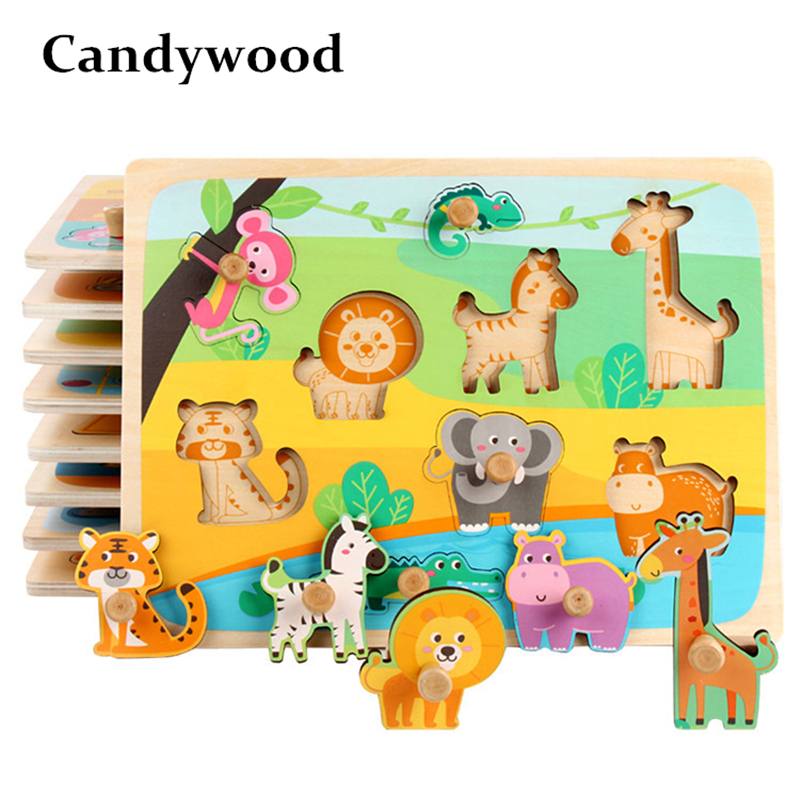 Candywood Baby Children's Puzzle Jigsaw Animal Traffic Figures Puzzles Hand Scratch Board Enlightenment Early Educational Toy