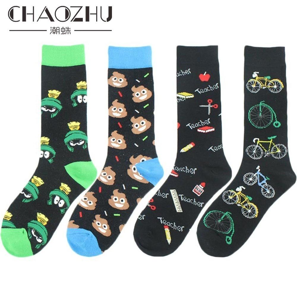 CHAOZHU Happy Socks Funny Humor Cartoon Shit Crew Socks Unisex Young Skateboard Bicycle Fixed Gear Fashion Long Socks Men Women