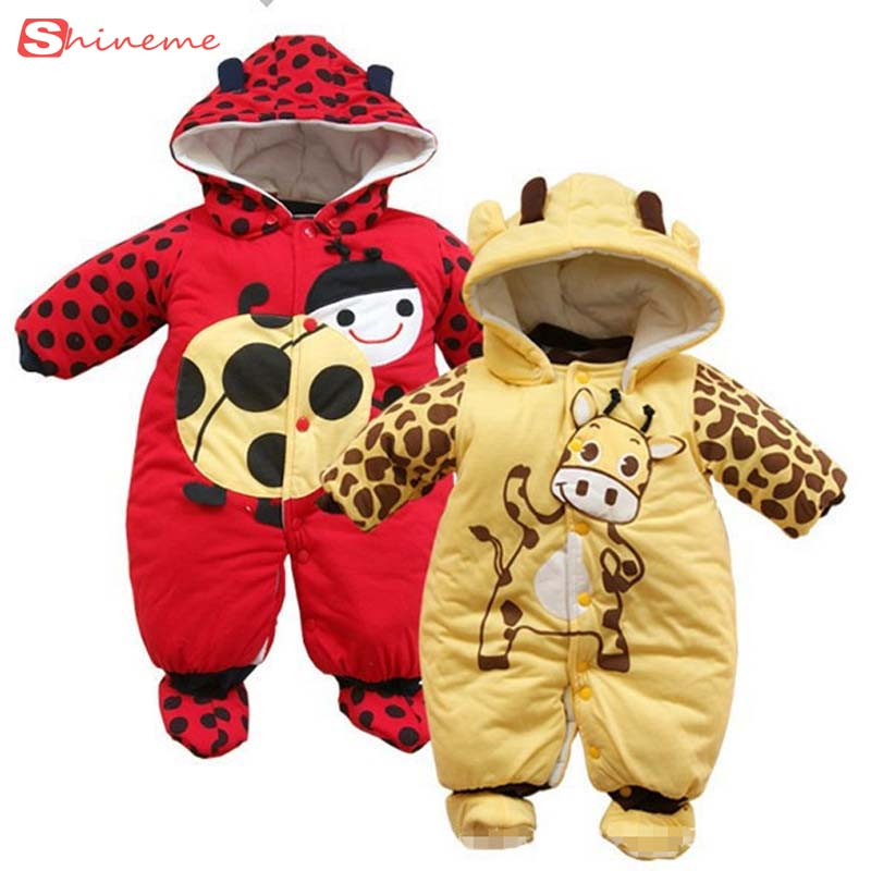 2016 Baby Coats Winter Jumpsuit Print Rompers with Hat Romper Warm Autumn Boy Girl for Newborn Children Clothes Kids Suit Set baby clothes winter keep warm flannel baby rompers baby boy girl coat next romper newborn kids clothes jumpsuit set