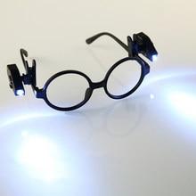1 paire Mini lampe de poche lunettes lampe de lecture pince à lunettes lanterne réglable lunettes lampe Flexible livre lecture lumières