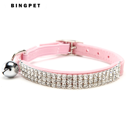 Hot sale fancy cute Diamante Rhinestone Necklace for small Pet Dog Cat Collar with Elastic Safety Belt and Bell