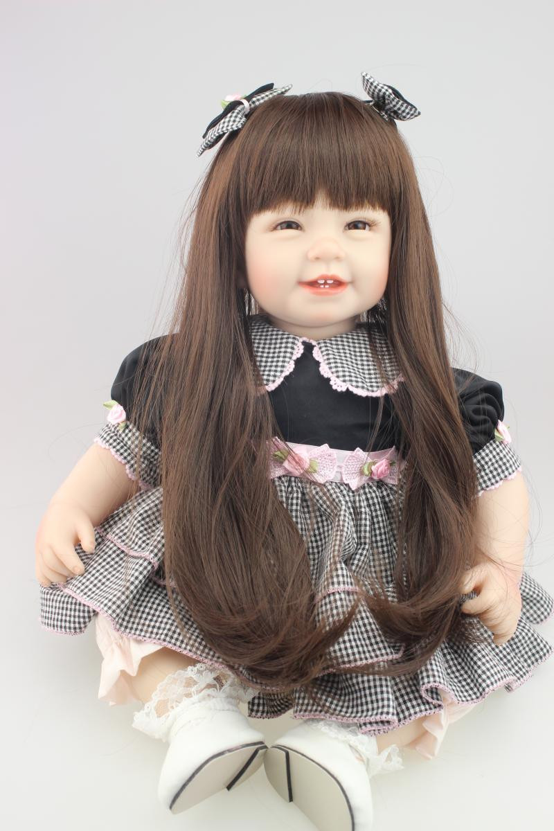 22inch 55cm High Vinyl Reborn Baby Toy Doll Sweet Lifelike Movable Smiling Princess Christmas Gift Present Black Dress22inch 55cm High Vinyl Reborn Baby Toy Doll Sweet Lifelike Movable Smiling Princess Christmas Gift Present Black Dress