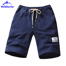 WildSurfer 2019 Summer Men 100% Cotton Beach Short M-4XL Plus Size Solid Bermudas Surf Short De Bain Homme Men Beach Shorts SP88(China)