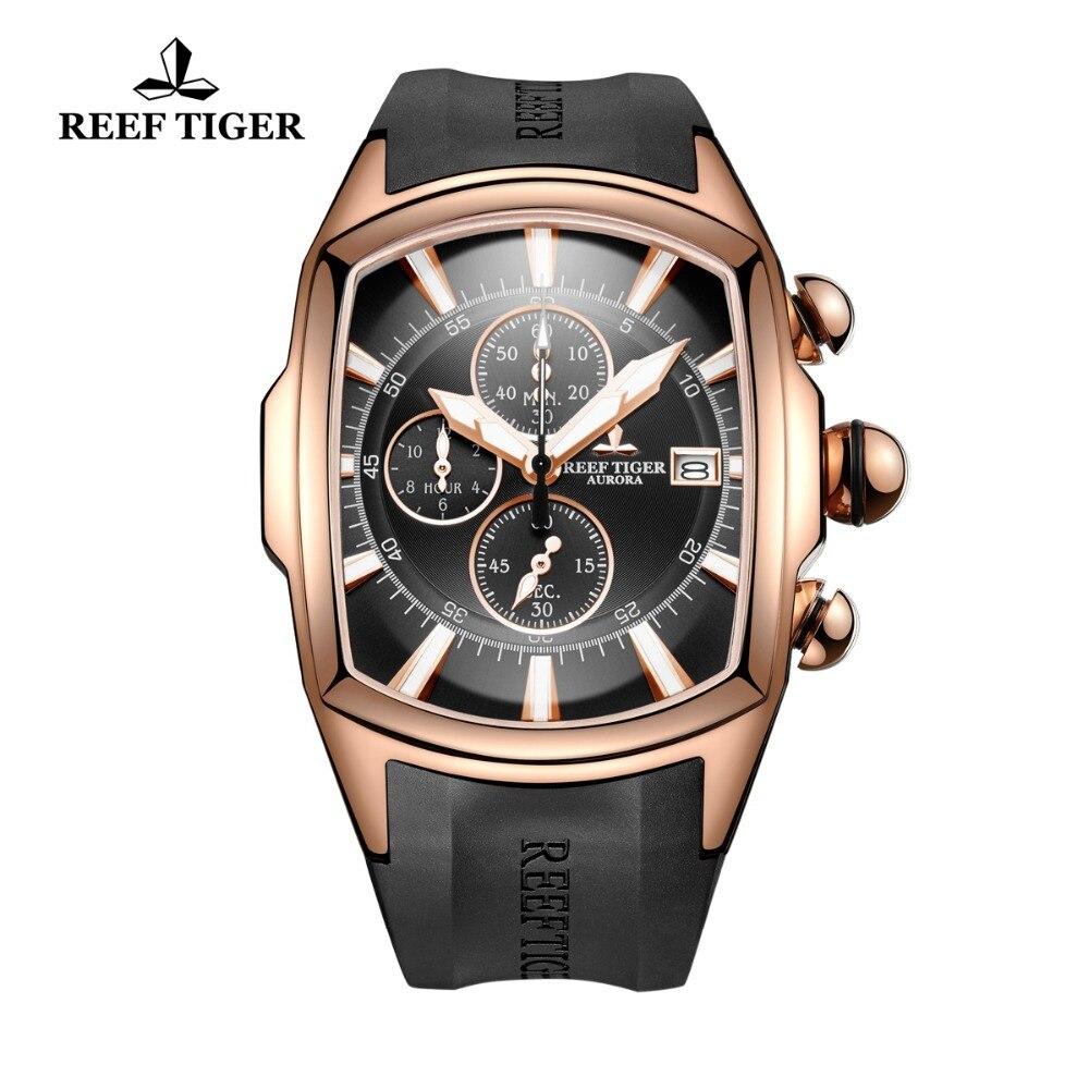 Reef Tiger/RT 2018 Роскошные водостойкие спортивные часы Дата Розовое золото каучуковый ремешок Военная Униформа мужские часы Relogio Masculino RGA3069 T
