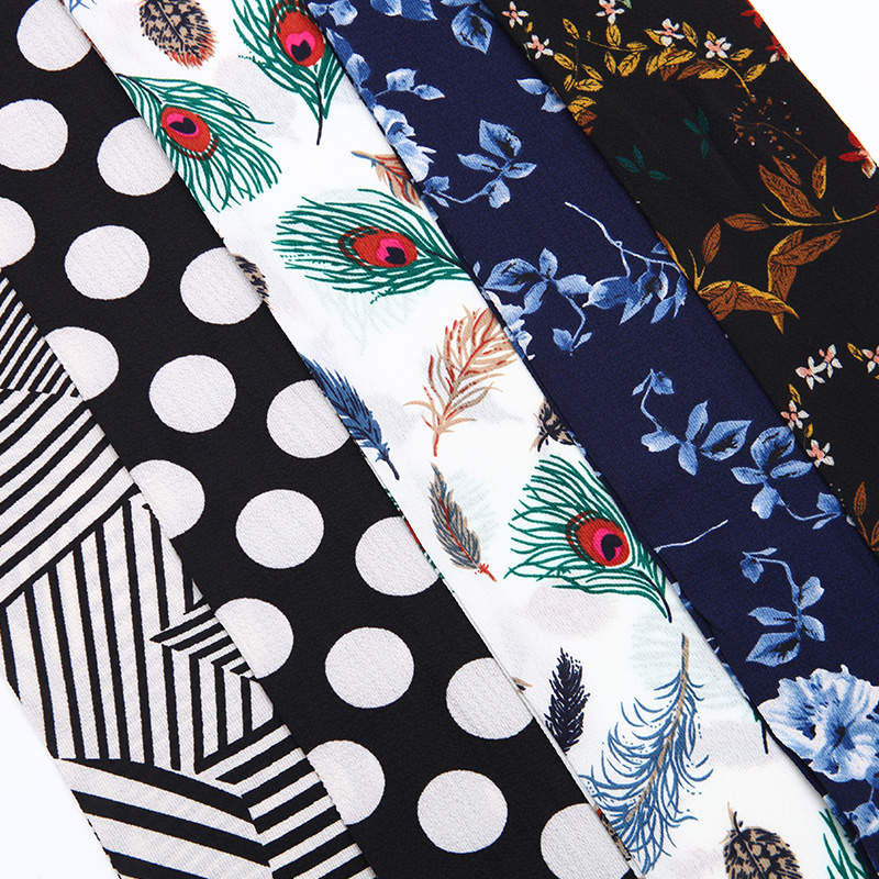 Dámské šátky Genovega Hot Winter Dámské šifónové proužky Polyesterový šátek pro dámské luxusní dlouhé tiskové peří Lady úzká šála