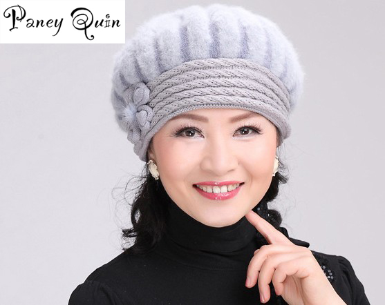 beautiful women winter fur hat cap Set flowers Caps Lady Headgear warm Beanies Womens Winter Hats Rabbit Fur Knitted Beanies