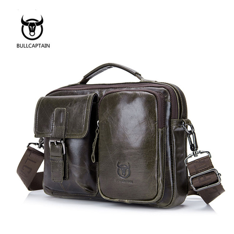 BULL CAPTAIN Men's Briefcase Leather Genuine Leather Men Handbag Male Shoulder Bags Men's Crossbody Bags Messenger  Bags For bull captain 2017 fashion genuine